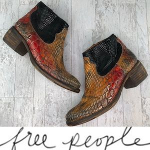 Free People Snakeskin Leather Ankle Boots 6.5